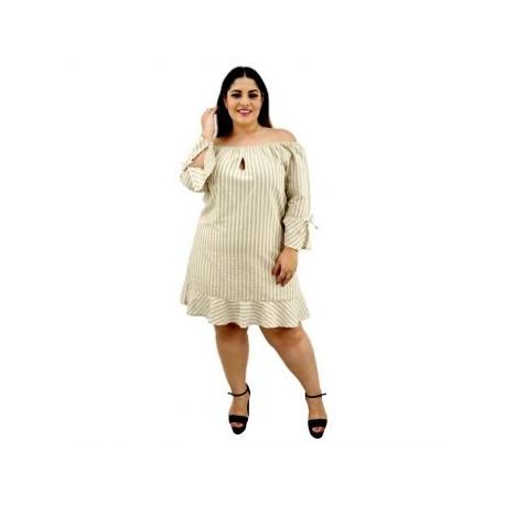 Vestido de lino modelo V-ST- 5094-BoutiqueCurvi-VESTIDOS Y FALDAS