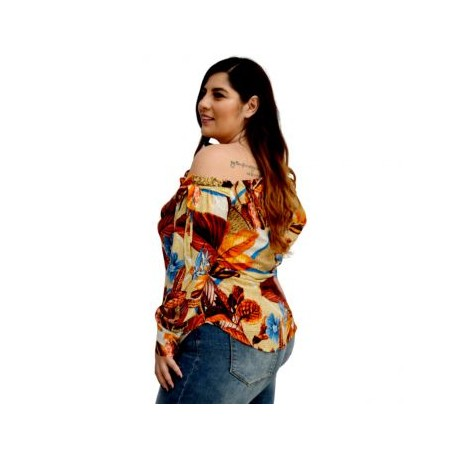 Blusa asimetrica de Algodón BL-ST- 5135-BoutiqueCurvi-BLUSAS