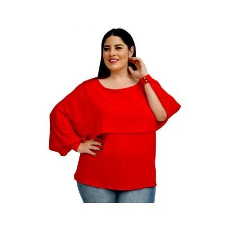 Blusa con capa, modelo BL1656-BoutiqueCurvi-BLUSAS Y MÁS