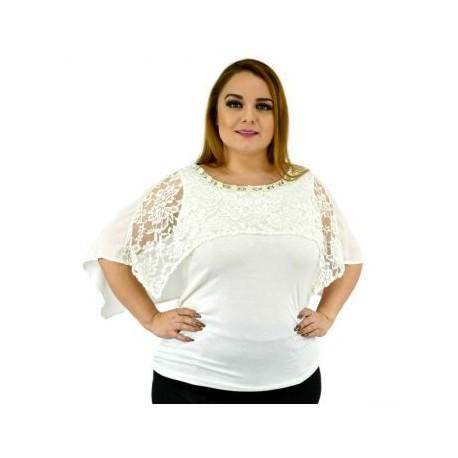 Blusa con perlas y capa de encaje 086-BoutiqueCurvi-BLUSAS