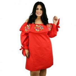 Vestido de Manta con Bordados *Coleccion de Lujo* RD840 (100% Algodón)-BoutiqueCurvi-VESTIDOS Y FALDAS
