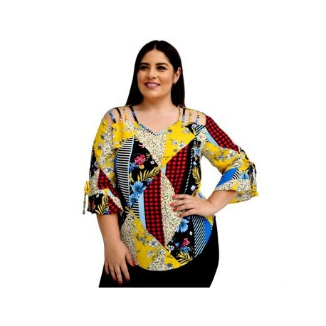 Blusa de chiffon  BL-ST- 5130-BoutiqueCurvi-BLUSAS