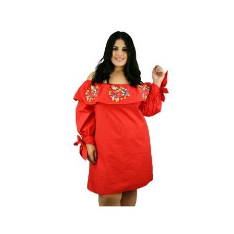 Vestido de Manta con Bordados *Coleccion de Lujo* RD840 (100% Algodón)-BoutiqueCurvi-VESTIDOS