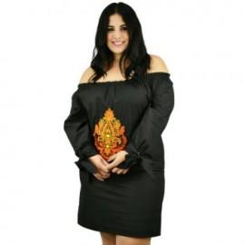 Vestido de Manta con Bordados *Coleccion de Lujo* RD896 (100% Algodón)-BoutiqueCurvi-COLECCIÓN DE LUJO