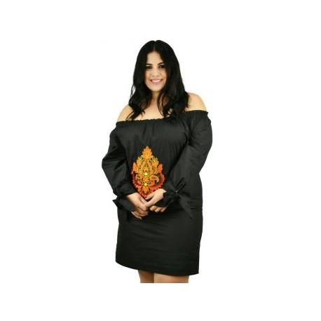 Vestido de Manta con Bordados *Coleccion de Lujo* RD896 (100% Algodón)-BoutiqueCurvi-VESTIDOS Y FALDAS