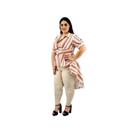 Blusa de Lino Cola de pato BL-FOL- 315-BoutiqueCurvi-BLUSAS