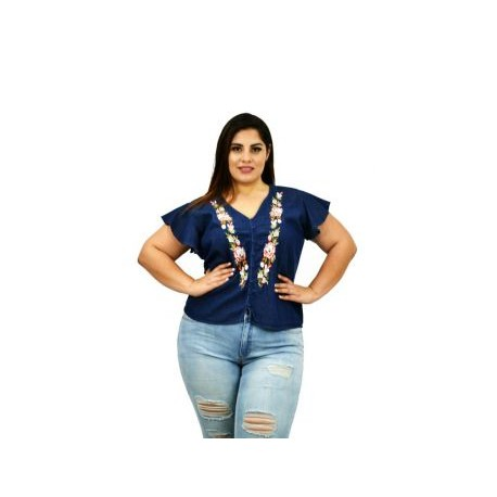 Blusa de Mezclilla Bordada JOS500-BoutiqueCurvi-BLUSAS Y MÁS