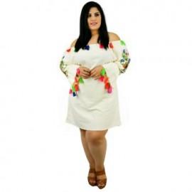 Vestido de Manta con Bordados *Coleccion de Lujo* RD917 (100% Algodón)-BoutiqueCurvi-VESTIDOS Y FALDAS