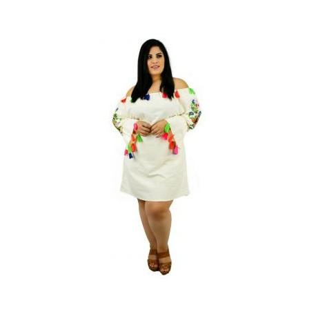 Vestido de Manta con Bordados *Coleccion de Lujo* RD917 (100% Algodón)-BoutiqueCurvi-VESTIDOS
